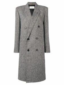Saint Laurent double breasted caviar tweed coat - Black