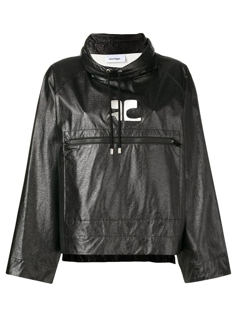 Courrèges oversized cropped jacket - Black