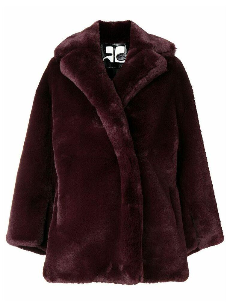 Courrèges faux fur oversized jacket - Purple