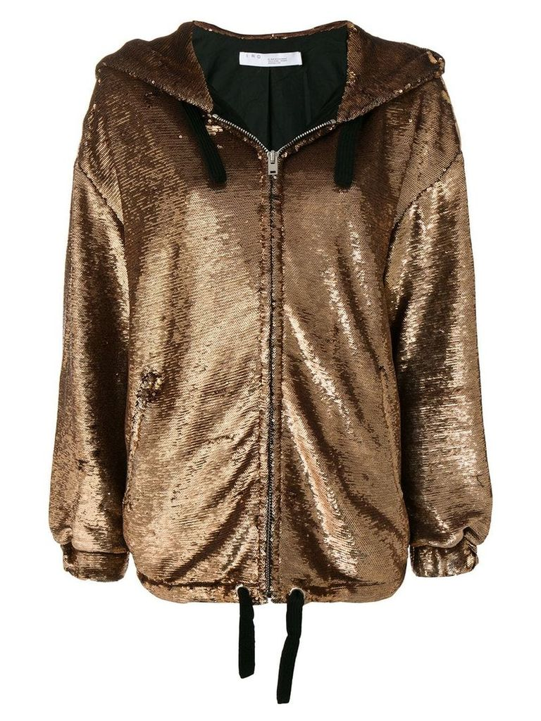 Iro metallic zipped hooded jacket - Gold