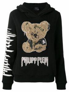 Philipp Plein crystal embellished teddy bear hoodie - Black