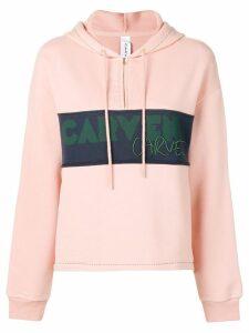 Carven logo panel half-zip hoodie - PINK