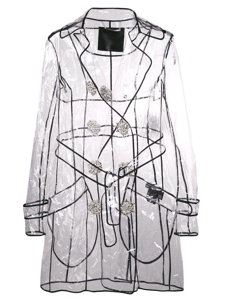 Philipp Plein double-breasted transparent jacket - White