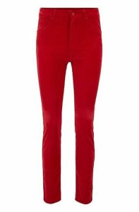 Slim-fit trousers in stretch cotton with velvet finish
