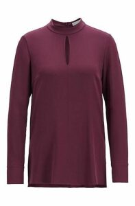 High-neck blouse in satinback crepe