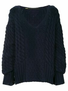 Muller Of Yoshiokubo cable-knit oversized sweater - Blue