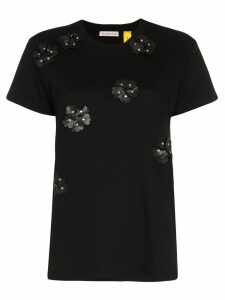 Moncler studded floral cotton t-shirt - Black