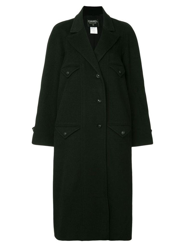 Chanel Vintage CC Logos Long Sleeve Coat Jacket - Black