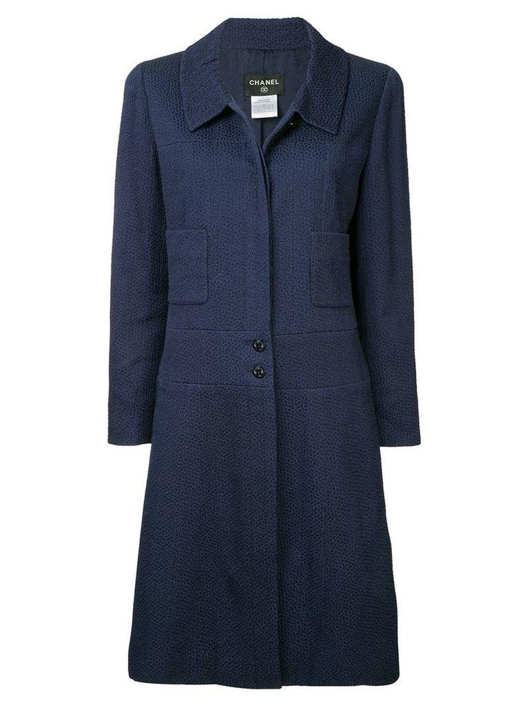 Chanel Vintage Long Sleeve Coat Jacket - Blue