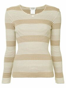 Chanel Pre-Owned striped ribbed top - Brown