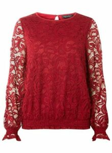 Womens Berry Sheered Hem Long Sleeve Top, Red
