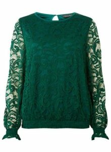 Womens Green Sheered Hem Long Sleeve Top, Green