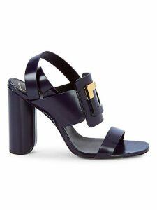 Buckle Leather Block Heel Sandals