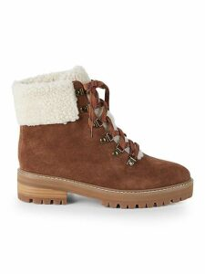 Myra Faux Fur Trim Suede Hiking Boots
