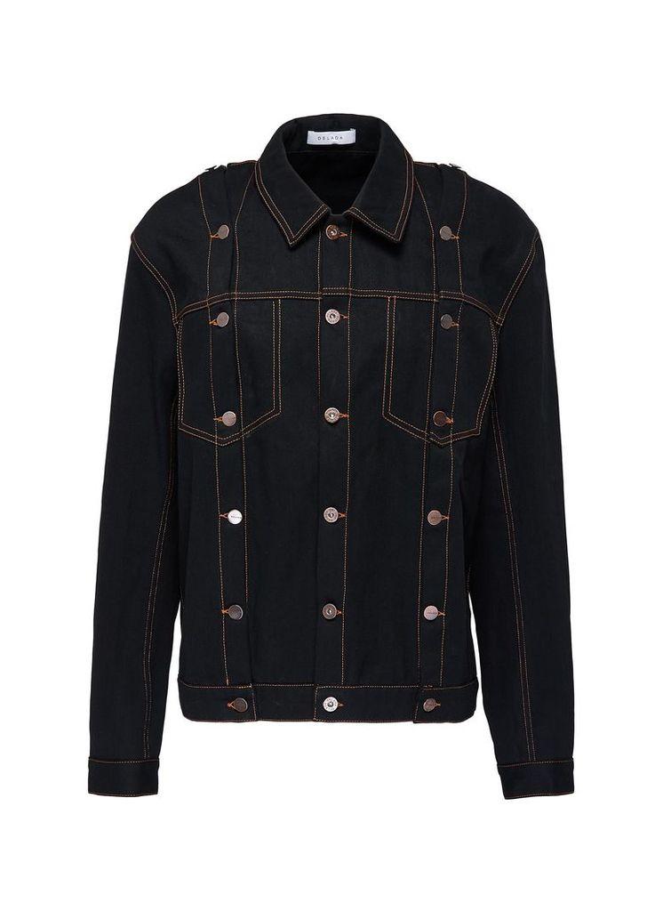 Detachable sleeve unisex denim jacket