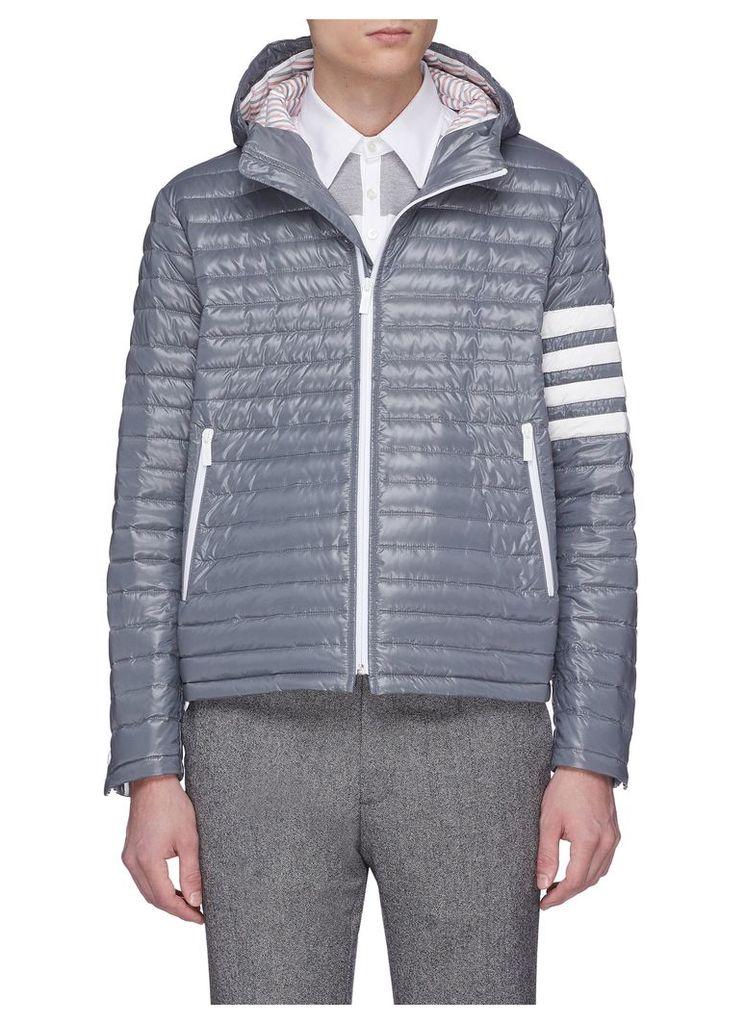 Stripe sleeve hooded down puffer jacket