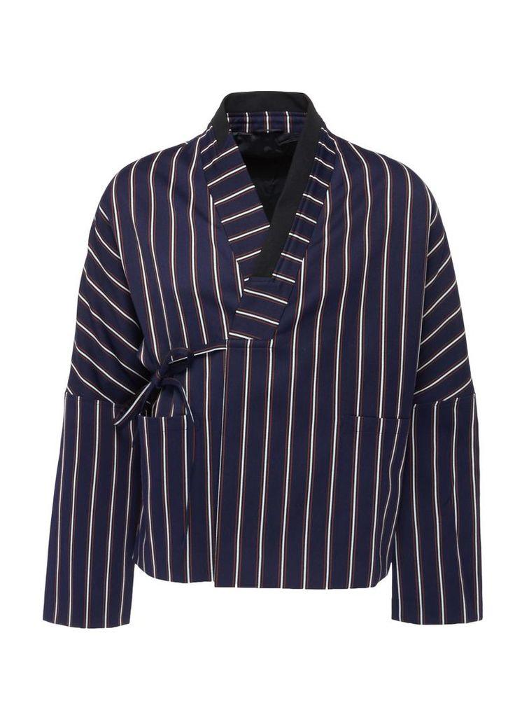 'Raiden' stripe twill unisex kimono jacket