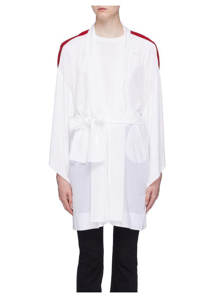 Belted stripe sleeve robe jacket