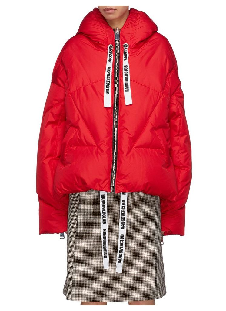 Slogan drawstring hooded down puffer jacket