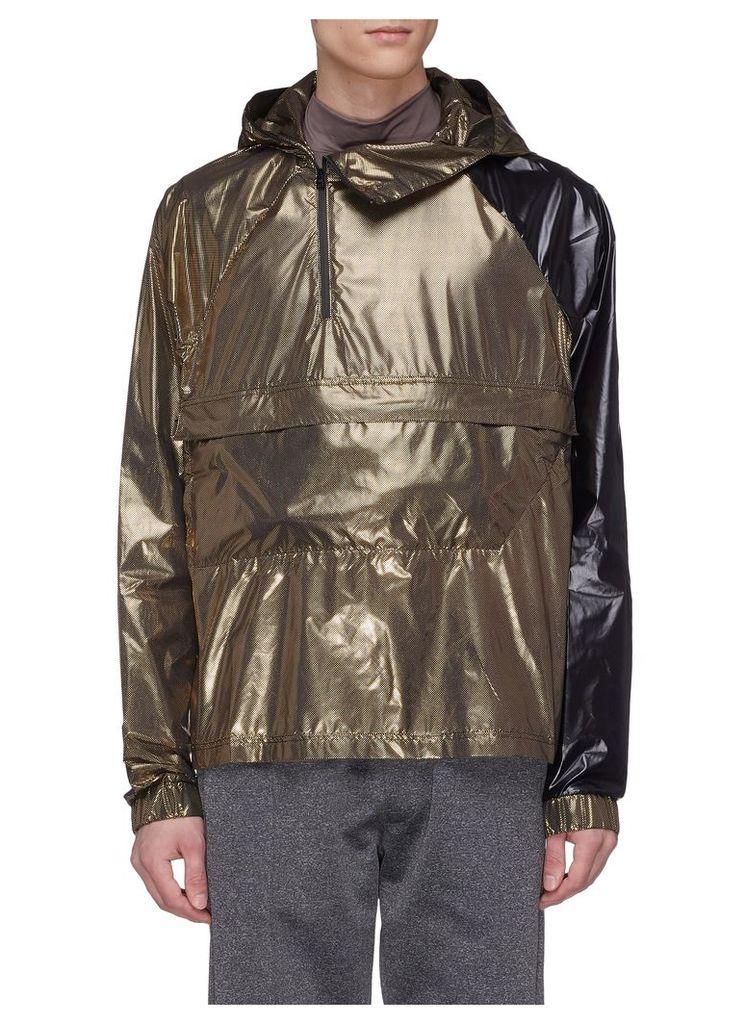 Packable hooded colourblock windbreaker jacket