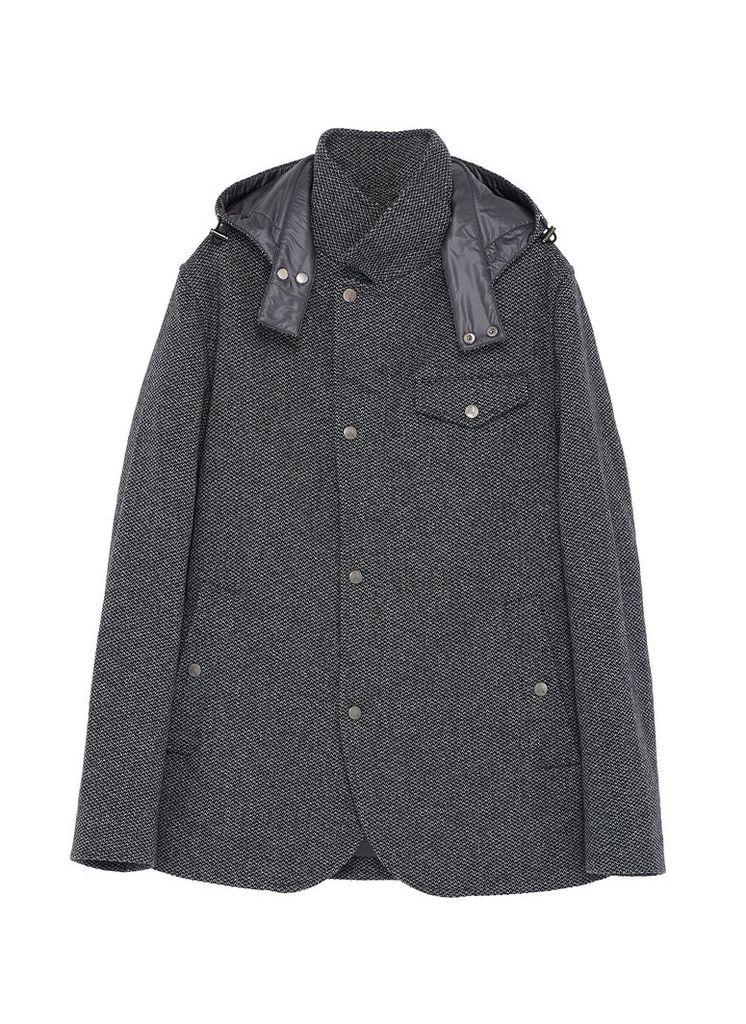 Detachable hood padded knit jacket