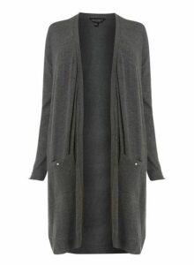 Womens **Dp Curve Grey Button Cardigan- Grey, Grey