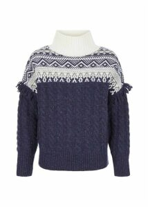 Cleo Wool Blend Sweater Navy Multi
