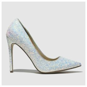Missguided White & Silver Full Glitter Court High Heels