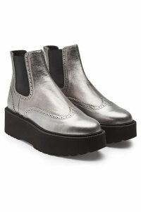 Hogan Leather Platform Ankle Boots