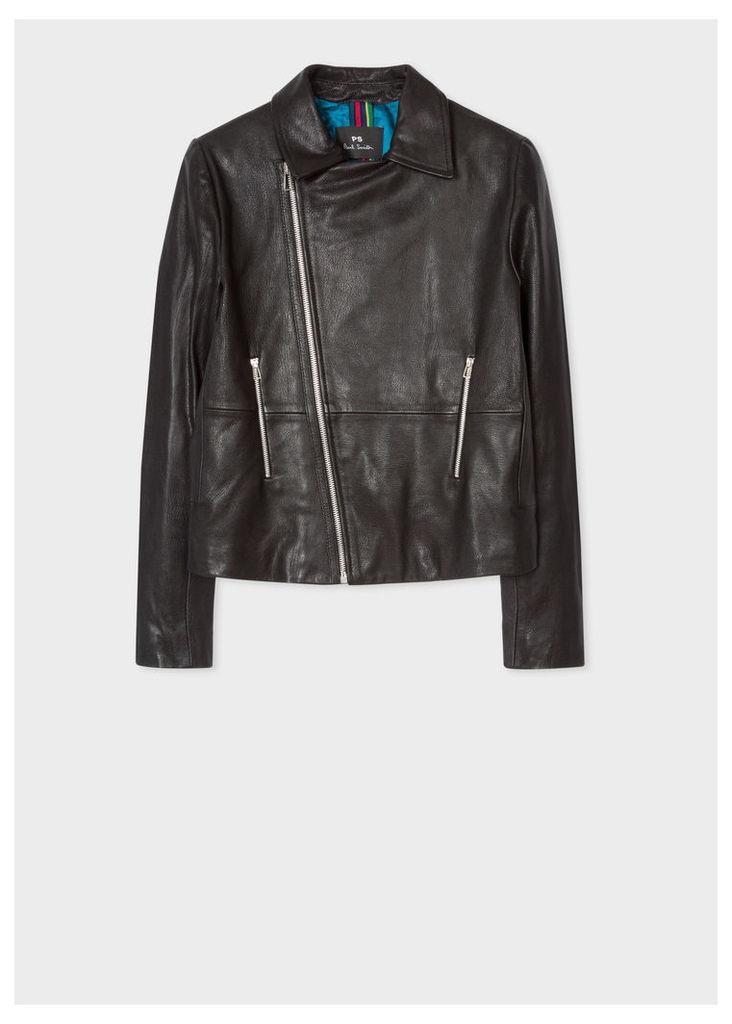Women's Black Leather Asymmetric Zip Biker Jacket