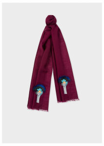 Women's Burgundy 'Ostrich' Embroidery Wool Scarf