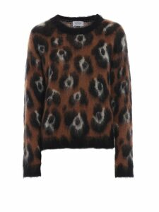 Dondup Animal Print Mohair Blend Jacquard Sweater