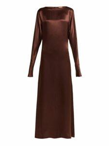 Albus Lumen - Alma Silk Satin Maxi Dress - Womens - Brown