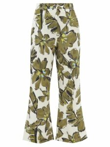 No. 21 - Tartan Stripe High Rise Trousers - Womens - Camel
