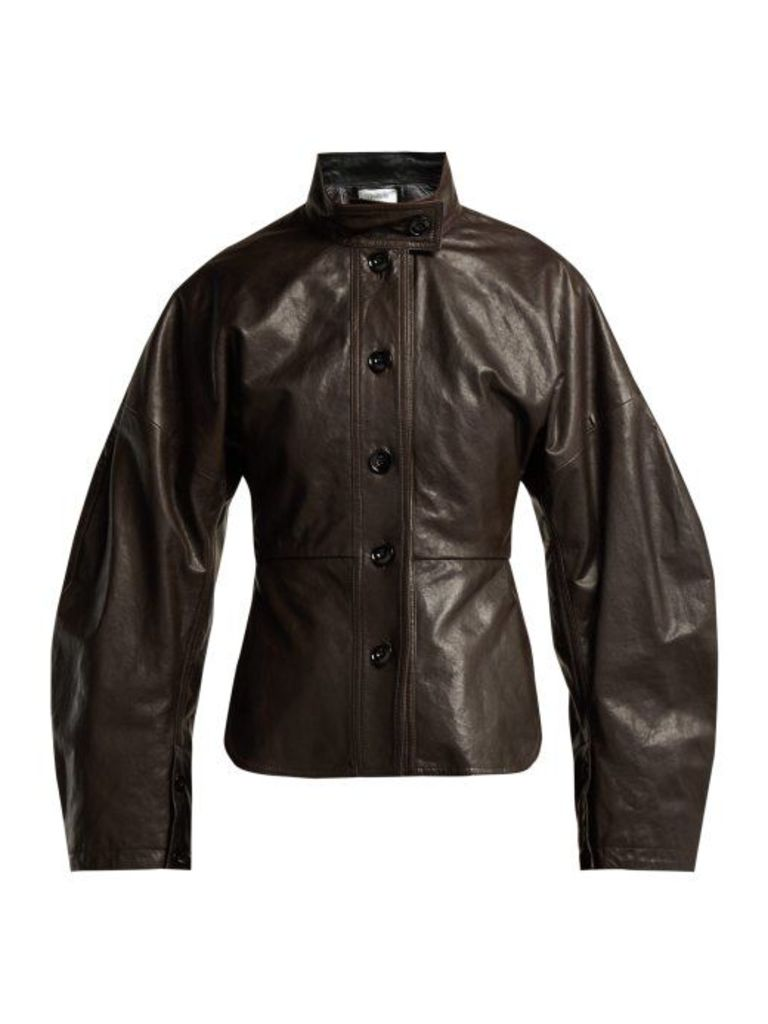 Lemaire - Single Breasted Leather Jacket - Womens - Dark Brown