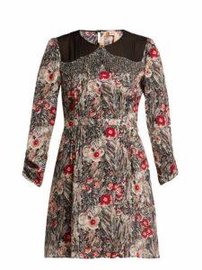 No. 21 - Floral-print Embellished Silk Mini Dress - Womens - Red Multi