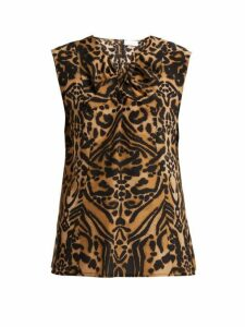 Raey - Knot-front Tiger-print Silk Top - Womens - Brown Multi