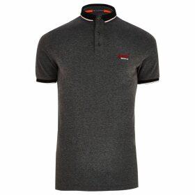 Mens River Island Superdry Black pique polo shirt