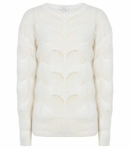 Reiss Dinah - Mohair Blend Patterned Jumper in Off White, Womens, Size XXL