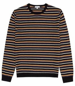 Reiss Brindisi - Striped Crew Neck Jumper in Navy, Mens, Size XXL