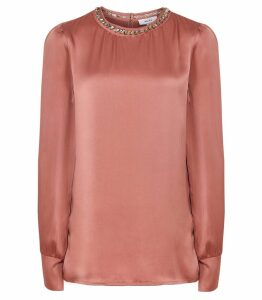 Reiss Elin - Embellished Satin Blouse in Blush, Womens, Size 14