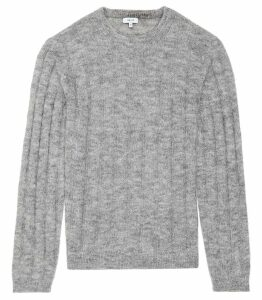 Reiss Roberts - Mohair Blend Ribbed Jumper in Soft Grey, Mens, Size XXL