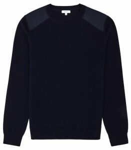 Reiss Donaldson - Sweatshirt With Shoulder Detailing in Navy, Mens, Size XXL