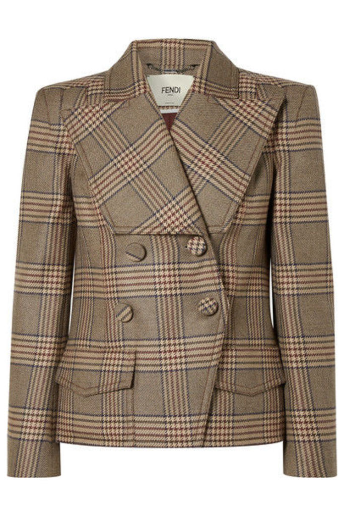 Fendi - Double-breasted Prince Of Wales Checked Wool Jacket - Gray