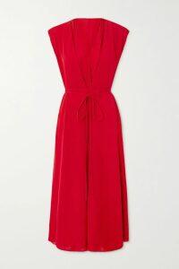 Prada - Pleated Checked Wool-tweed Skirt - Orange