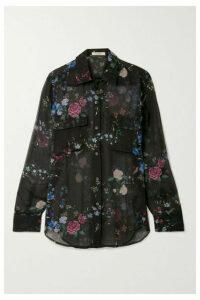 Equipment - + Tabitha Simmons Signature Floral-print Silk-chiffon Shirt - Black