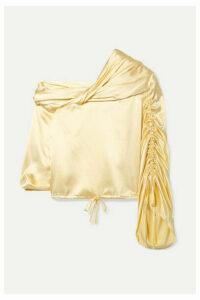 Hellessy - Sunshine Draped Asymmetric Silk-charmeuse Blouse - Pastel yellow