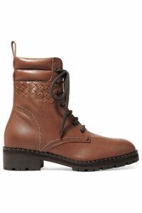 Bottega Veneta - Intrecciato Leather Ankle Boots - Brown