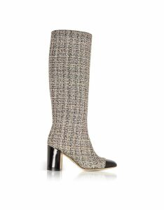 Rodo Designer Shoes, Tweed and Black Patent Leather Heel Boots