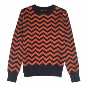 IGGY & BURT - Chevron Crew Neck Jumper Navy & Orange